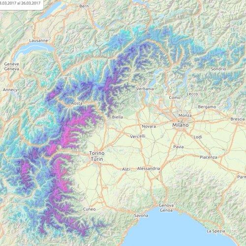 mysnowmaps - Nevicate in corso sulle Alpi!
